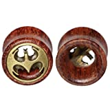 10mm 00g Brass Batman Logos Organic Wood Flesh
