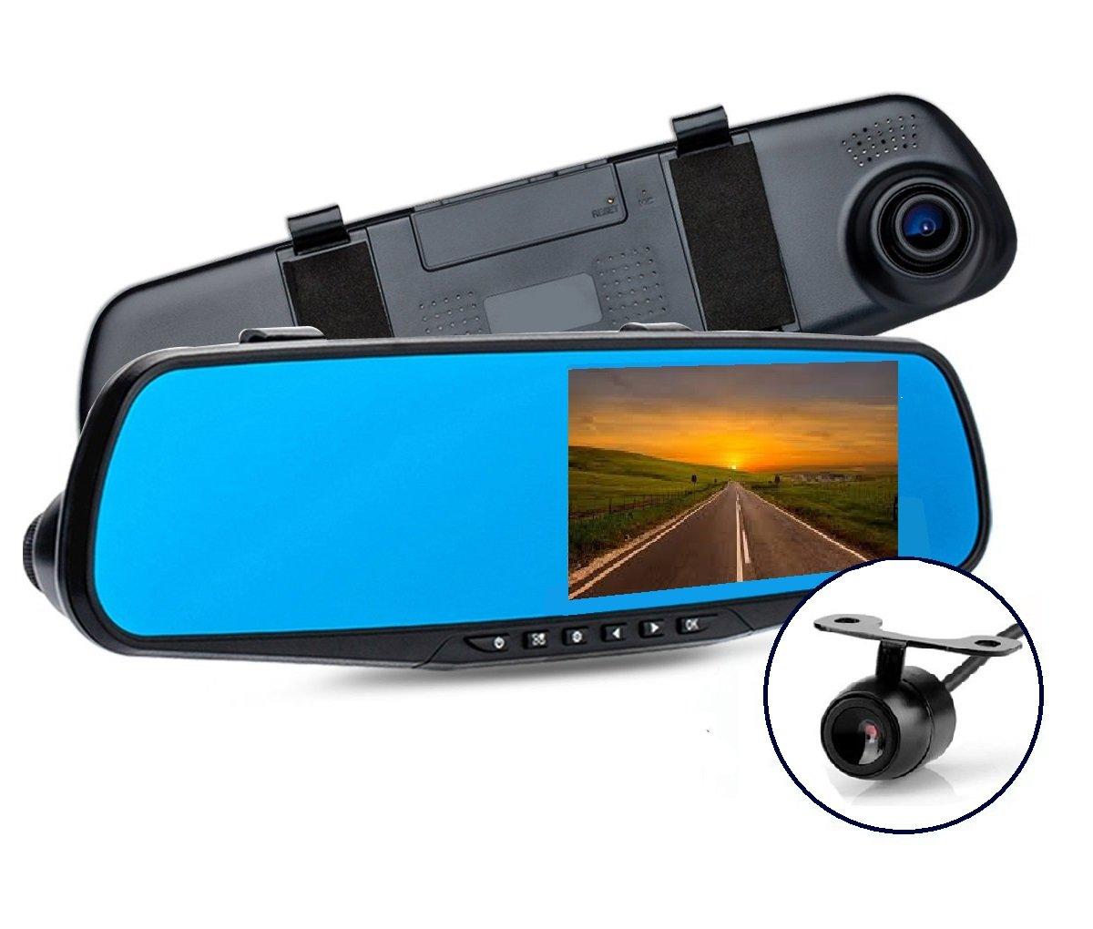 AB Caméra de tableau de bord avant et arrière du miroir 1080P - Caméra d'enregistrement à cristaux liquides à double largeur HD de 4,3' Caméra miroir de stationnement avec détecteur de mouvement, vision noct