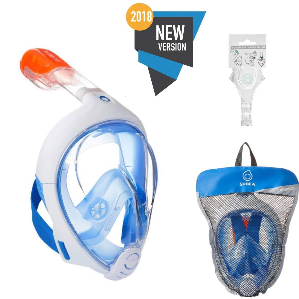 Tribord/Subea (2018 Version) Full Face Snorkel Mask with Sports Cam Mount(GPro), Enhanced Anti-Fog and Anti-Leak (Blue, S/M) by SUBEA TRIBORD
