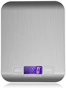 LCD Electronic Kitchen Scales balance Cooking Measure Tools Digital Stainless Steel 10000g/1g digital Weighing Food scale (silver)