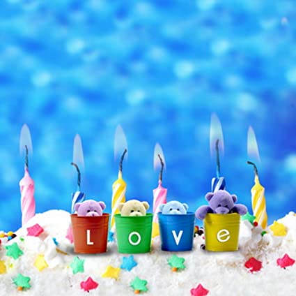 8 X Ft LOVE Theme Background Birthday Cake Candles With Colorful Stars Blurred Backdrop Children