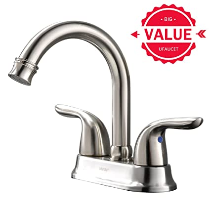 Ufaucet Modern 2 Handle Brushed Nickel Bathroom Sink Faucet, Vessel Vanity Sink  Faucet Without Pop