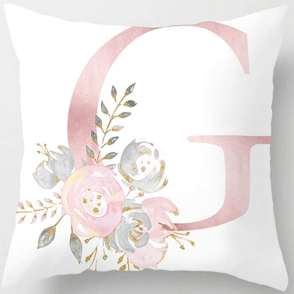 Tillskuch Throw Pillow Covers Decorative English Letters Floral Pillowcases Velvet Soft Cushion Cover White Pillow Protectors for Sofa Bedding Car and Home Decor (Letter G, 18