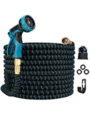 Gpeng Best Expandable Garden Hose , 100ft Water Hose with 8 Function Spray Nozzle and 3/4 Solid Brass Fittings , Easy Storage Kink Free Lightweight Retractable Collapsible Gardening Flexible Hoses Pipe