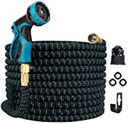 Gpeng Best Expandable Garden Hose , 100ft Water Hose with 8 Function Spray Nozzle and 3/4 Solid Brass Fittings