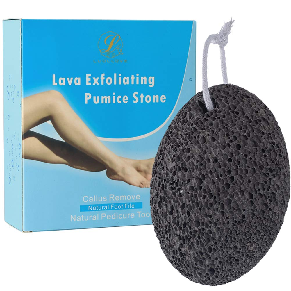 Pumice Stone, LUOLLOVE Natural Lava Earth Pumice Stone for Feet and Hands,Natural Foot Pumice Foot File and Scrubber for Hard Dry Skin,Callus Remover and Pedicure Remover Foot Care Tools (Oval) WMGoods