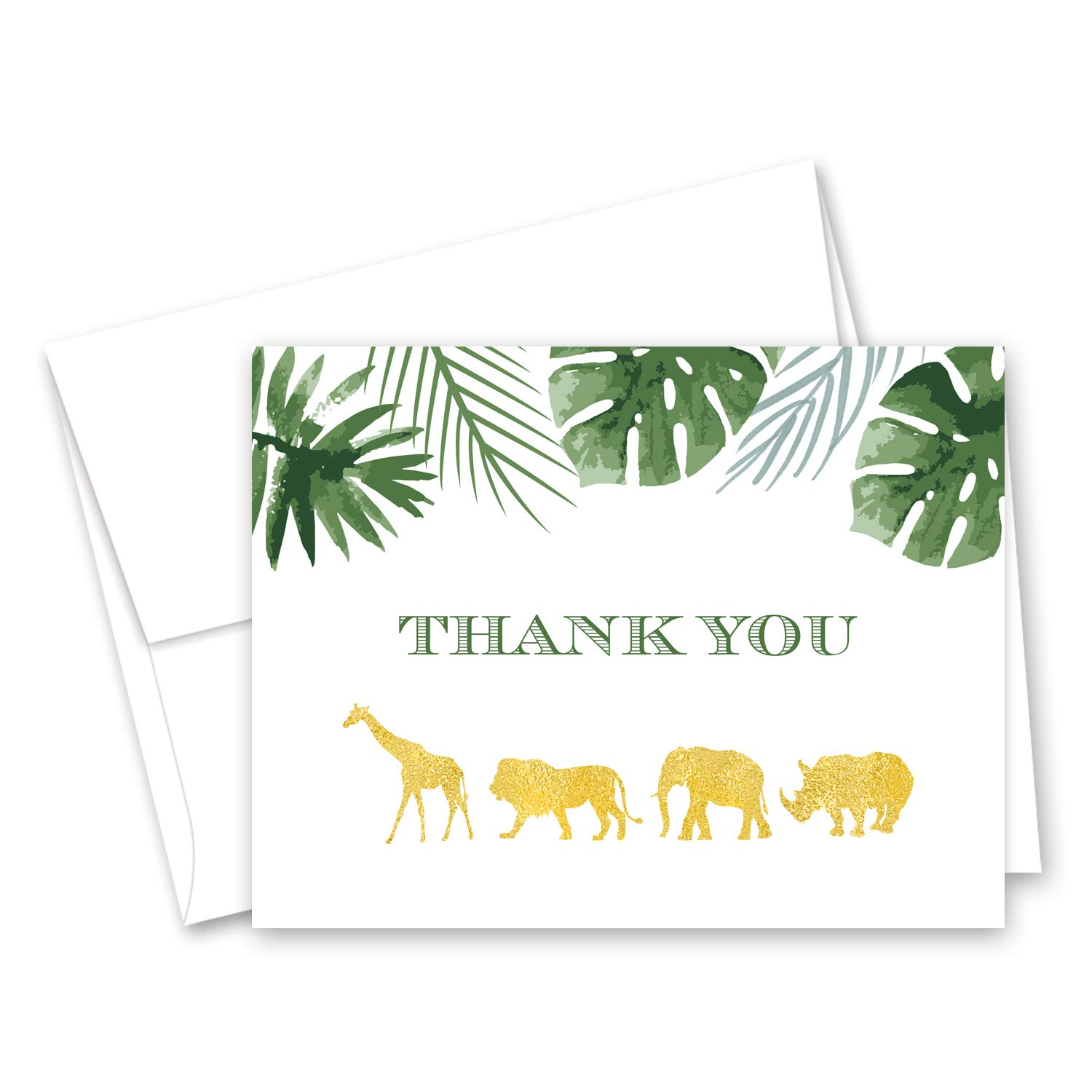 InvitationHouse Gold Safari Palm Leaves Thank You Cards and Envelopes - Set of 50