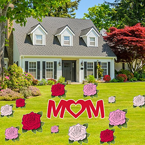 Happy Mother's Day Yard Decoration - Mom, Roses decoration w/18 stakes (Store Decorations)