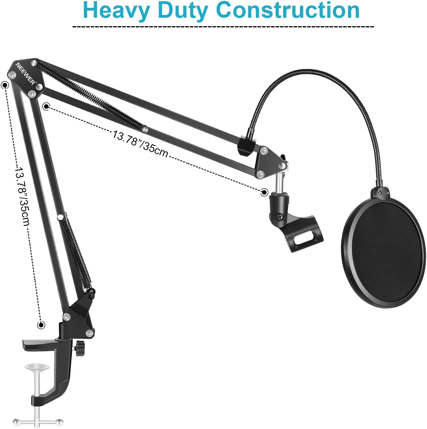NOT Compatible with Blue Yeti, Snowball, Blue Spark Neewer NW-35 Microphone Stand with Microphone Windscreen Foam and Dual-Layered Mic Pop Filter Suspension Boom Scissor Arm Stand Kit