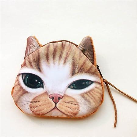 Forma de la cabeza de gato carcasa tarjetero bolsa neceser ...