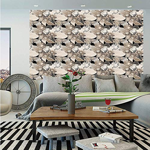 - SoSung Floral Huge Photo Wall Mural,Vintage Plant Arrangement with Soft Colors Faded Foliage Leaves Natural Vegetation,Self-Adhesive Large Wallpaper for Home Decor 108x152 inches,Tan Black