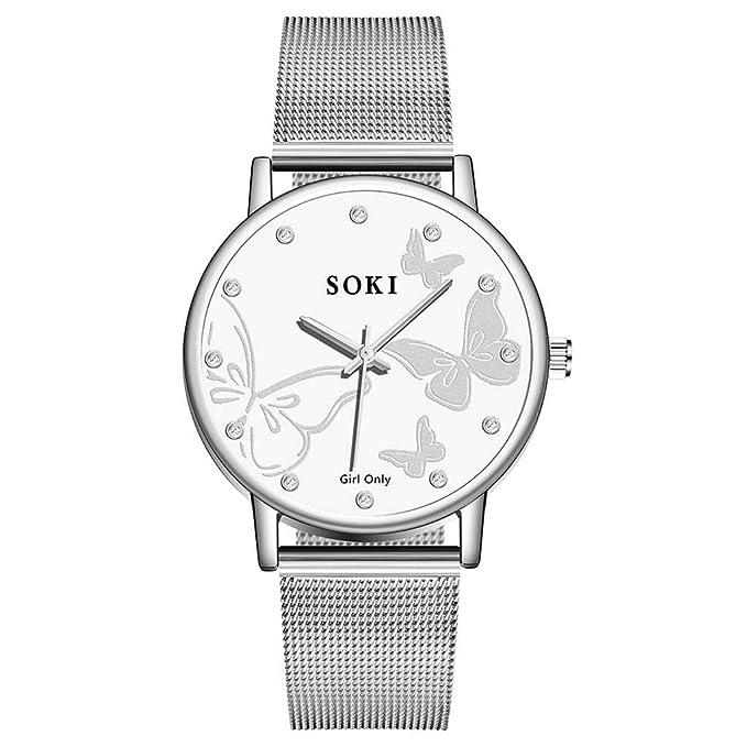 Amazon.com: Reloj de pulsera de cuarzo con esfera simple de ...