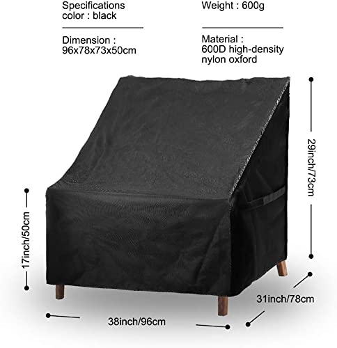 CrazyAnt Patio Chair Covers 38 x31 x29 Waterproof 600D Polyester Oxford Cloth Deep Chair Cover Replacement Durable Anti-UV Snow Resistance Outdoor Yard Furniture Chair Cover 38 x31 x29 inches