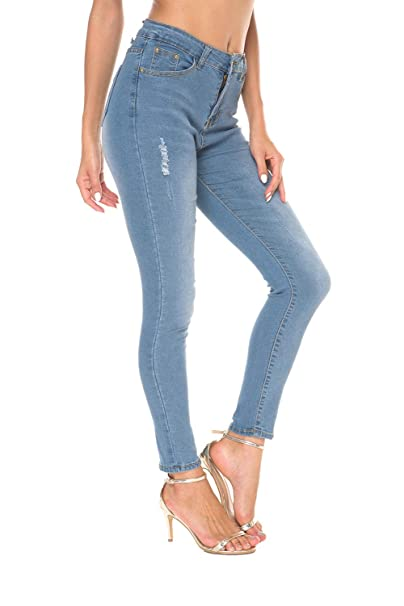 Women's Ripped Skinny Jeans Distressed Denim Slim fit high Waisted Butt Lift Stretch Cute Jeans (Blue, US 10)... best high-waisted jeans