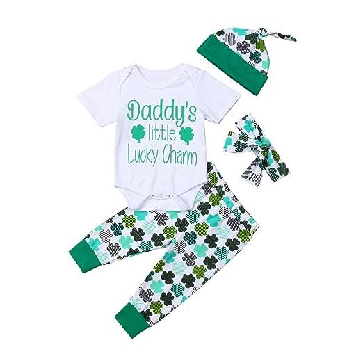 e0fde3d5e4e My 1ST St.Patrick s Day Baby Boys Girls Letter Print Rompers+Four-Leaf
