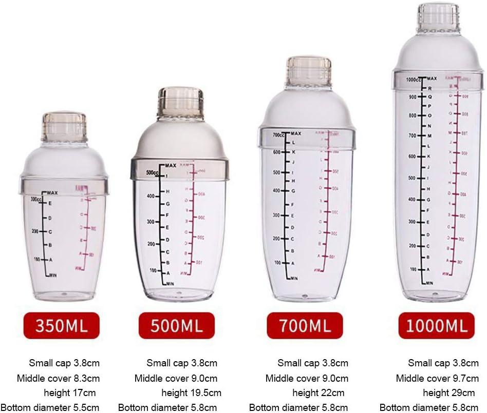 WanBeauty 350//500//700//1000 Ml Kunststoff-Shaker-Cocktail Transparenter Dual-Scale-Gramm-Shaker-Cup-Getr/änkemischer Mit Markierungen Clear Milk Wine Wine Mixing Tool 350 ml