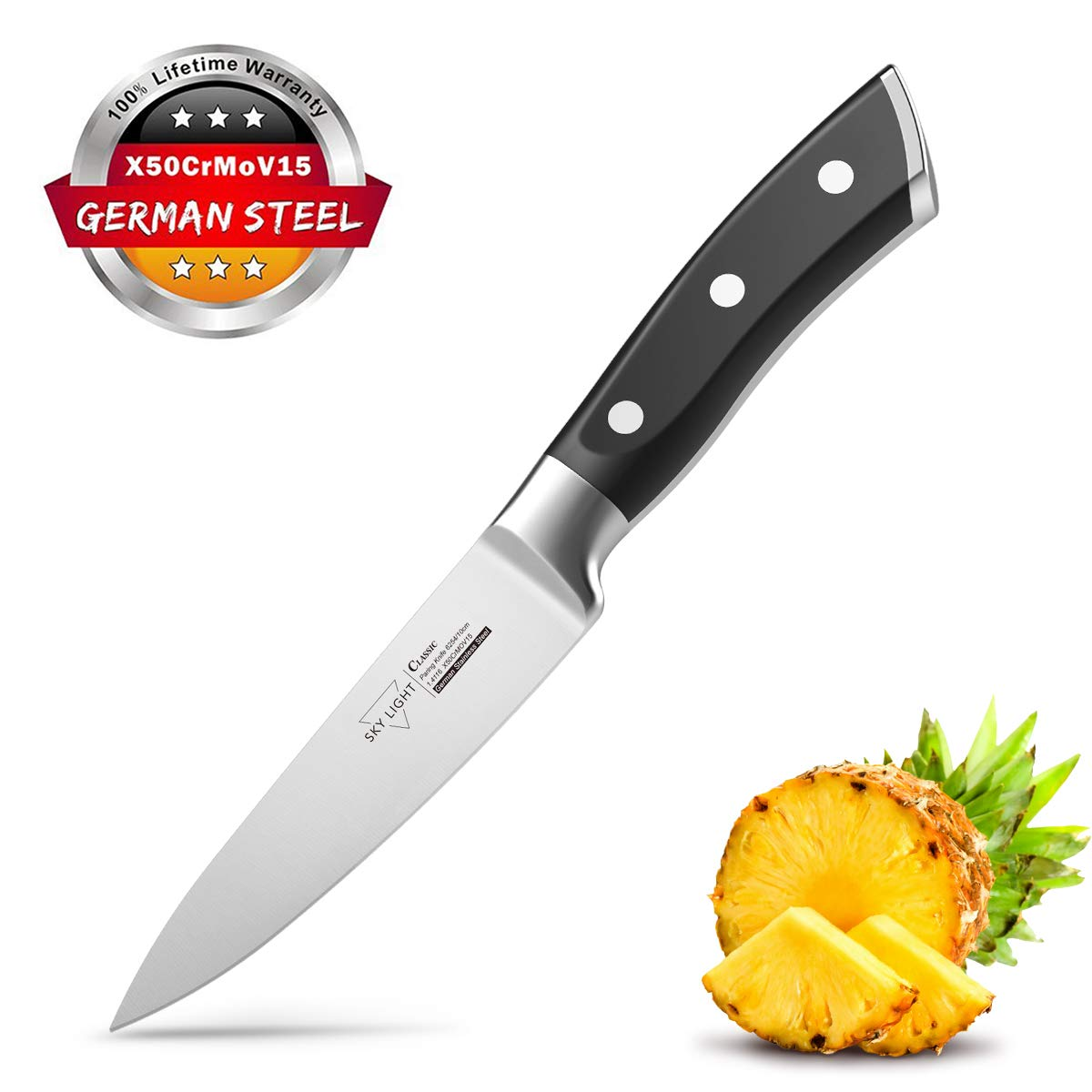 Paring Knife Fruit Knife Peeling Knife 4 Inch German HC Stainless Steel Small Sharp Knife with Non Slip Ergonomic Handle for Kitchen Cutting by SKY LIGHT