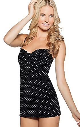 0c21c69988bf1 COCO RAVE One Piece Swim Dress Bandeau Underwire Bra Ruffled Skirted  Swimsuit Polka Dot Black (