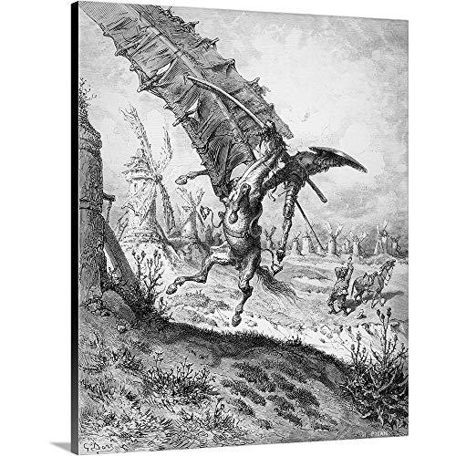 Gustave Dore Premium Thick-Wrap Canvas Wall Art Print entitled Don Quixote and the Windmills, from Don Quixote de la Mancha by Miguel Cervantes 11