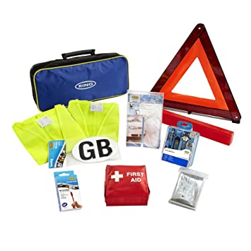 Ring RCT1 10 Piece European Travel Kit, with Warning Triangle, 2 High Vis  Vests, Bulb Kit, NF Breathalysers, First Aid Kit, Foil Blanket, Beam
