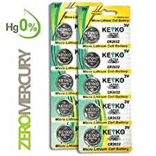 2032 Battery CR2032 3V Lithium Coin Cell Battery Type : CR2032 / DL2032 / ECR2032 Genuine KEYKO ® Supreme High EnergyTM - 10 pcs Pack
