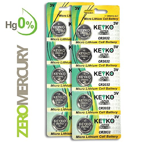 (2032 Battery - 10 pcs Pack - 3V Lithium Buttom Coin Cell Battery Type 3.0 Volt: CR2032 DL2032 ECR2032 Genuine KEYKO Supreme High Energy)