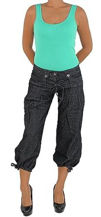 Damen Capri 3 4 Jeans Shorts Bemuda Pluder Hüft Stretch Hose Aladin Pump Hose  Schwarz bfa9ced3ee