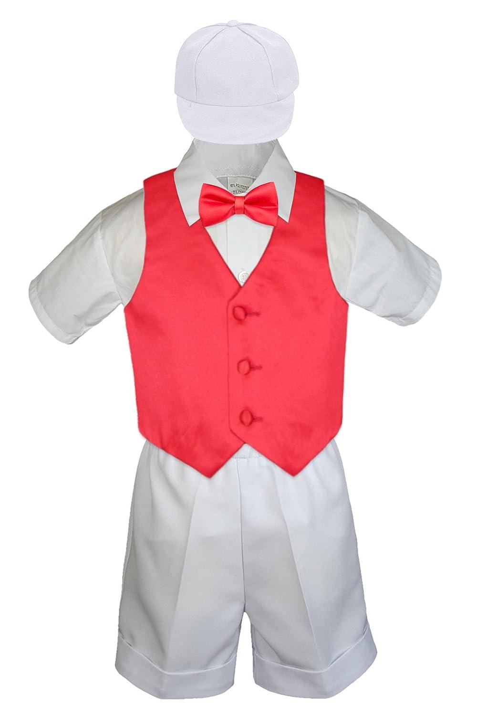 MILLTEX 5 Pieces Formal Wedding Color Satin Vest /& Bow tie Shirt W//Hat White Shorts Set Baby Boy Toddler Sm-4T