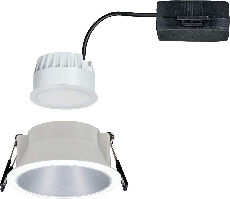 En plastique Intensit/é variable Paulmann 19,5 W 2700 K Plafonnier en zinc Spot LED encastrable rond Blanc argent/é Cole // 93410 Avec 3 x 6,5 W