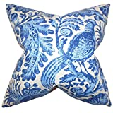The Pillow Collection KING-42429-CHAMBRAY-L55-R45 Blue Cadeau Floral Bedding Sham, King/20'' x 36''