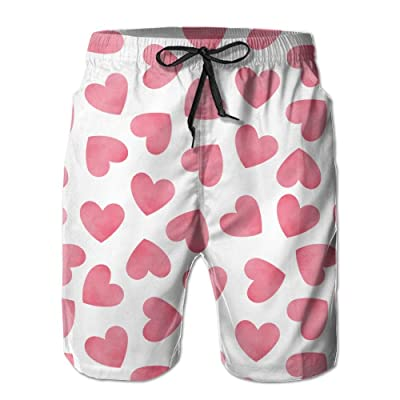 ZAPAGE Man Pink Love Quick Dry Lightweight Boardshort Printed Sports Men's Surfing Boardshorts with Pocket