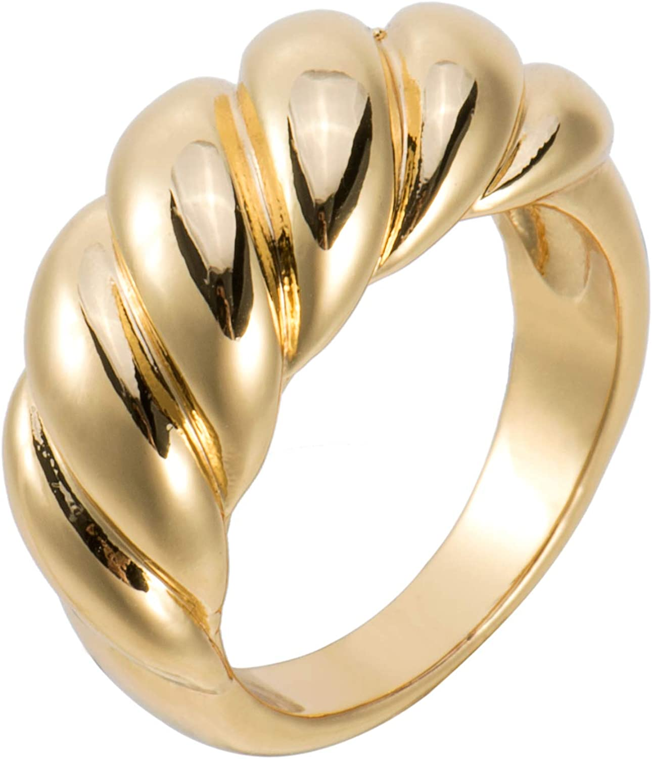 18k Gold Plated Chunky Dome Ring Croissant Braided Ring Signet Thick Band for Women Size 5 to 10