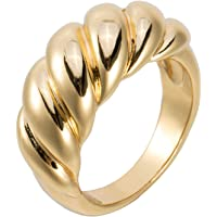 Aurelia Mae 18K Gold Plated Croissant Dome Ring Wide Stacking Ring Chunky Gold Rings