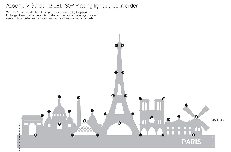 Amazon.de: Landmarks in Paris, france-diy Kit Licht beleuchtet ...