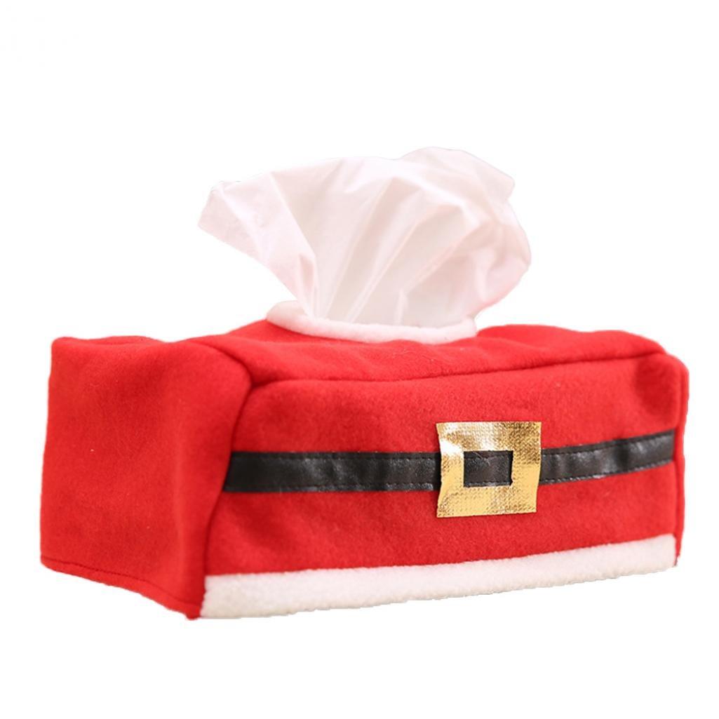 Nuohuilekeji New Christmas Tissue Paper Box Storage Case Belt Clover Pattern Desk Decor size Belt