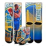 Men's Kevin Durant Golden State Warriors NBA For Bare Feet 'Best Of' Center Court 2 Player Socks, Size Medium (5-10)