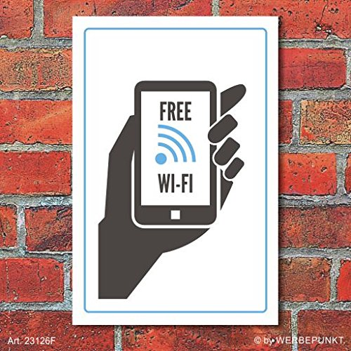 Cartel Free WiFi, de aluminio ligero de 3 mm: Amazon.es ...