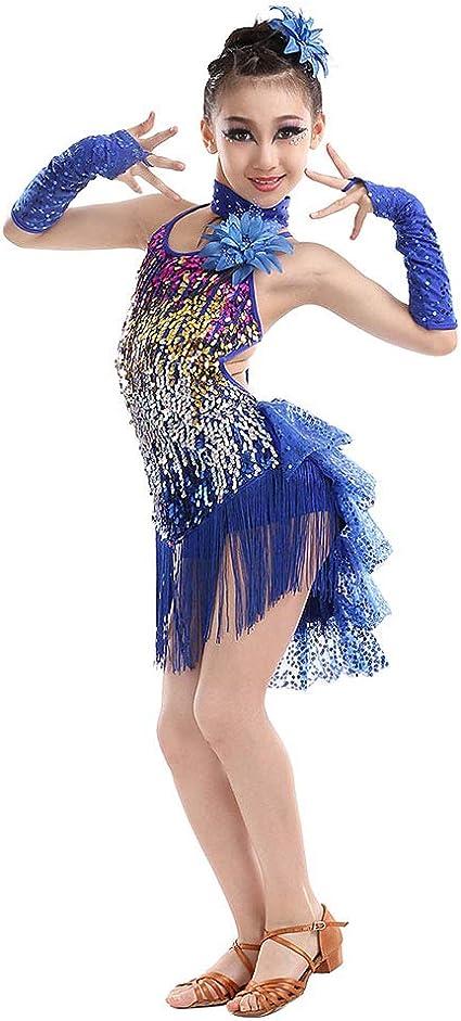 Children Girls Sequin Latin Tango Dance Dress Tassel Skirt Dance Show Costume UK