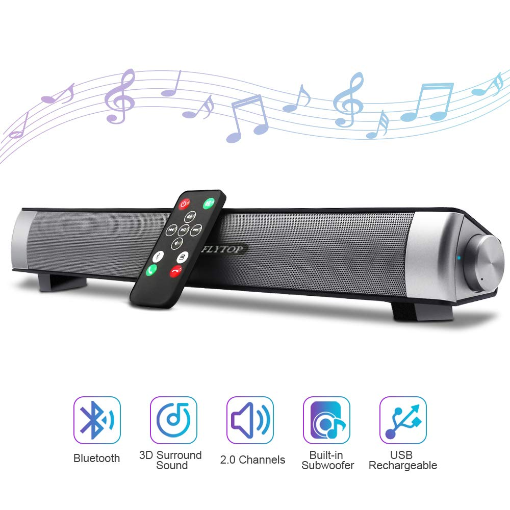 Bluetooth Sound Bar 15.7'' Portable Wireless Speakers for Home Theater Surround Sound with Built-in Subwoofers for TV/PC/Phones/Tablets with Remote Control