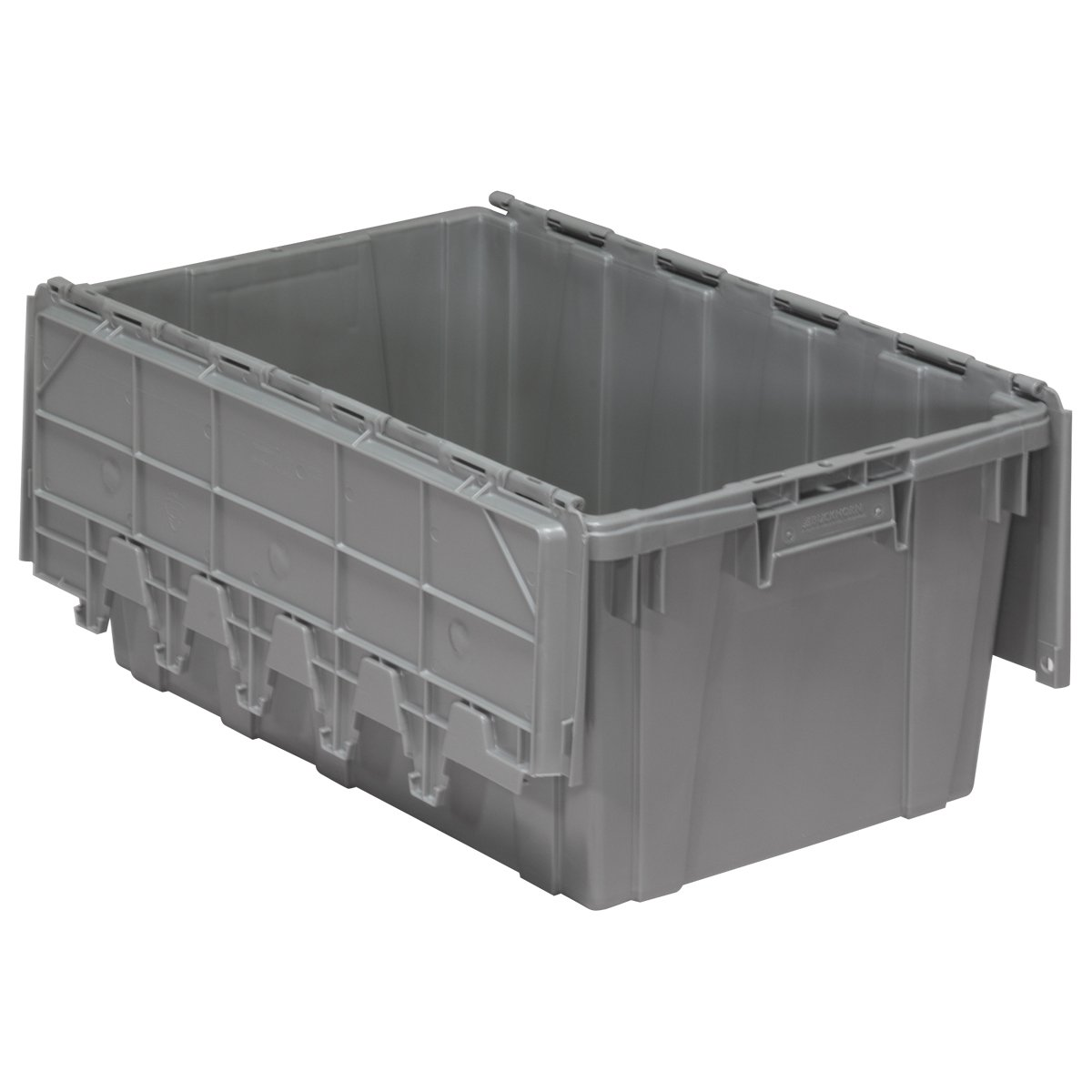 Akro-Mils 39160 Plastic Storage and Distribution Container Tote with Hinged Lid, 27-Inch L by 17-Inch W by 12.5-Inch H, Grey