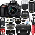 Nikon D5600 24.2 MP DSLR Camera + AF-P DX 18-55mm & 70-300mm NIKKOR Zoom Lens Kit + Accessory Bundle by Nikon