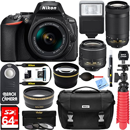 Nikon D5600 24.2 MP DSLR Camera + AF-P DX 18-55mm & 70-300mm NIKKOR Zoom Lens Kit + Accessory Bundle