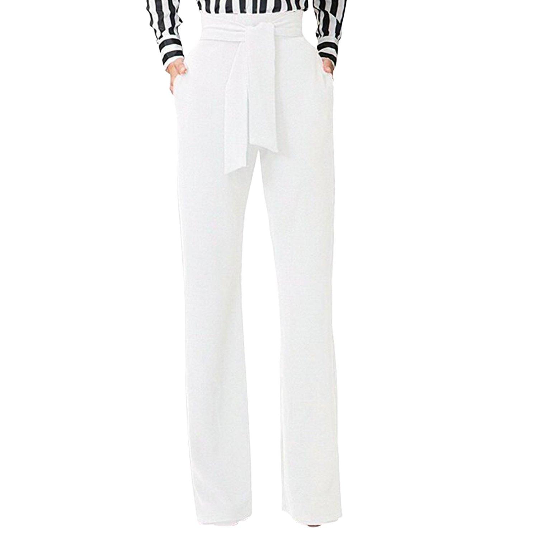 99dc2846ebef Semen Femme Pantalon Évasé Taille Haute Slim Streth avec Ceinture Pantalon  Droit Trouser Legging Casual Uni  Amazon.fr  Vêtements et accessoires