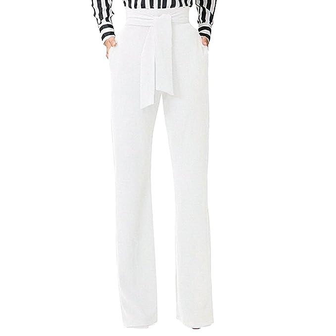 10c0329214af5 Semen Femme Pantalon Évasé Taille Haute Slim Streth avec Ceinture Pantalon  Droit Trouser Legging Casual Uni: Amazon.fr: Vêtements et accessoires
