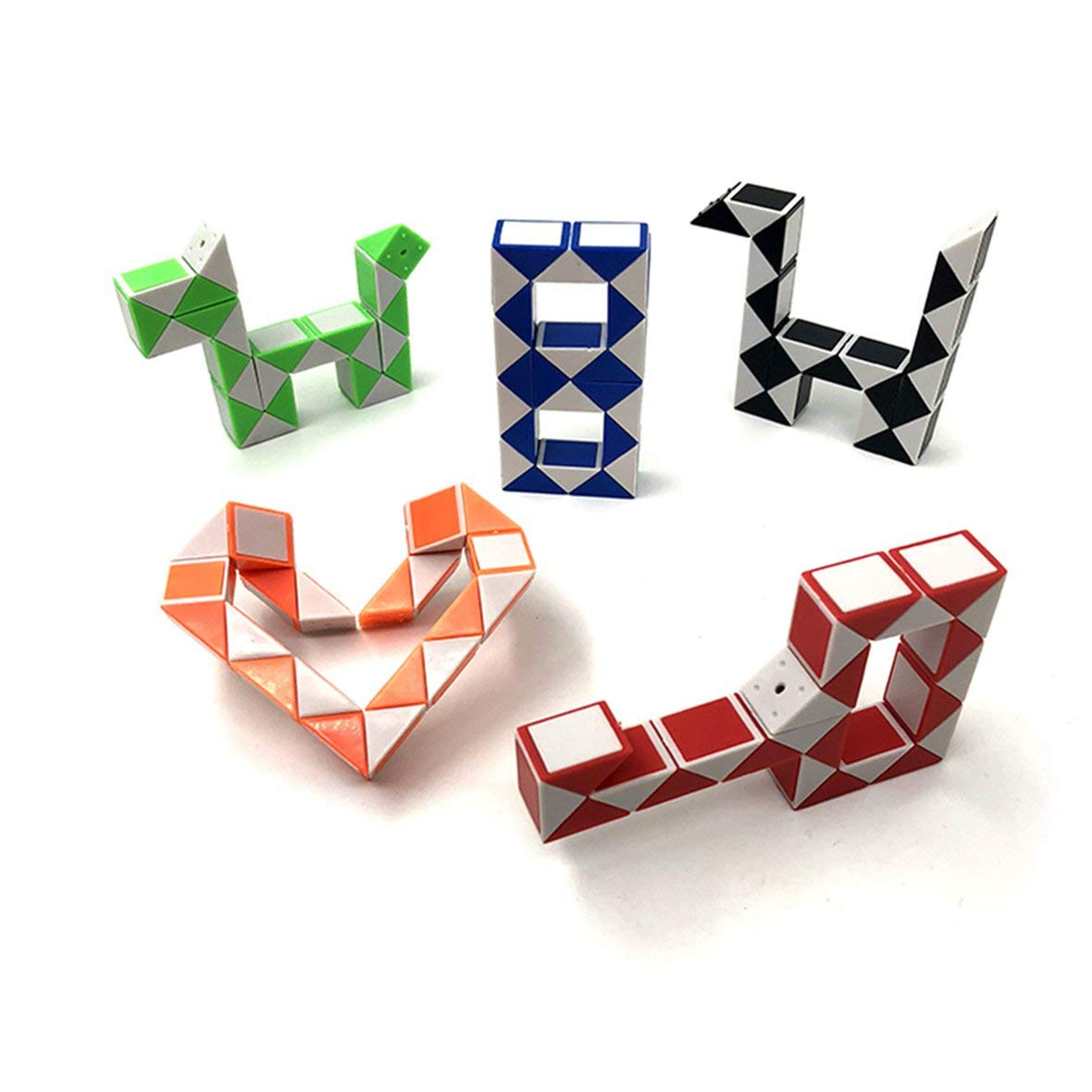 Tivolii 3D Colorful Magic Ruler 24 Segments Snake Twist Cube Puzzle Game Kids Learning Educational Toys for Children Boys Girls