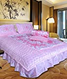 Chelsi Home DCor Self Design Printed Satin Wedding Bedding Set ( Set Of 4 Pcs) 1 Double Bed Bedsheet:: 2 Pillow Cover:: 1 Ac Comforter