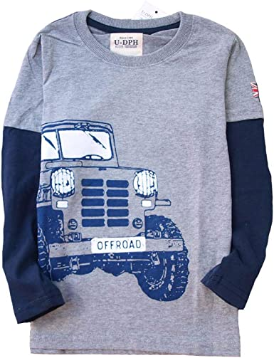 Coralup - Camiseta de manga larga para niños de 5 a 14 años de algodón con cuello redondo Camión gris 5-6 Años: Amazon.es: Ropa y accesorios