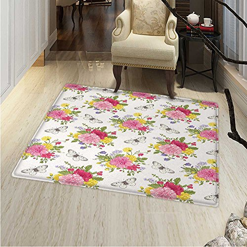 4' Garden Bell - Shabby Chic Print Area Rug Peonies Roses Sweet Peas Bell Colorful Bouquet Butterflies Botany Garden Perfect Any Room, Floor Carpet 4'x6' Multicolor
