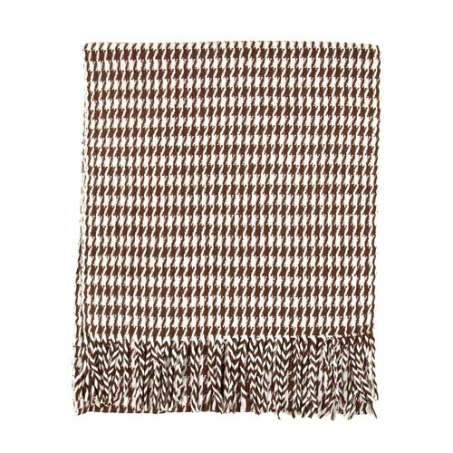 Classic Premium Houndstooth Check Scarf - Different Colors Available (Brown & White) (White Check Houndstooth)