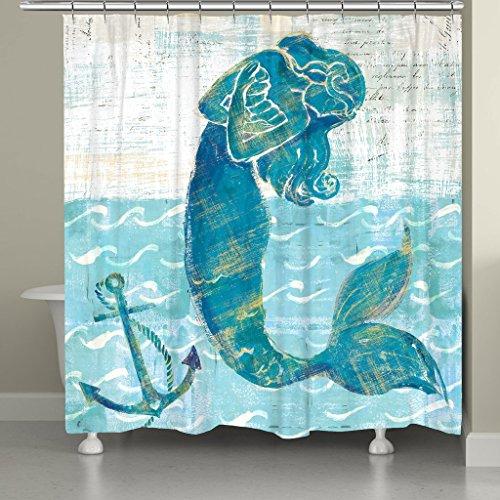 New Laural Home MERMAID74SC Tropical Mermaid of the Sea Shower Curtain, Blue